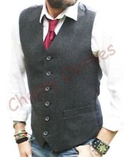 MENS WOOL BLEND TWEED GREY GRAY HERRINGBONE WAISTCOAT VEST   M L XL XXL