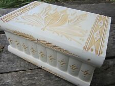 Puzzle Jewelry Box with Secret Compartment Hidden Key Lock White Wooden Hungary
