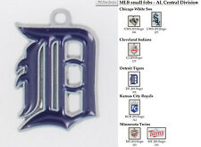 MLB team logo fobs (AL Central), pewter-toned, various teams & keychain options