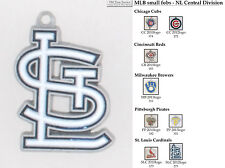 MLB team logo fobs (NL Central), pewter-toned, various teams & keychain options