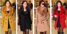 Women's Slim Winter Warm Coat Long Wool Jacket Fur Collar Outwear With Belt hot