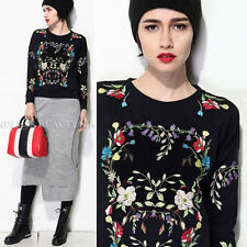 Women's Loose Fit Thick Embroidered Floral Sweatshirt Jumper Top Pullover Blouse