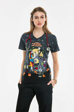 V-Neck Knit Panel scrub top in Nightmare Before Christmas