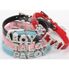 """Croc Rhinestone Dog Pet Cat Puppy Personalized Collar w/ Crystal Bling Name 7-9"""""""