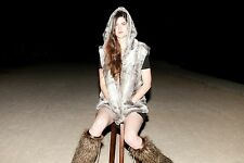 Fur Vest with Cloak Hood and pockets in Faux fur
