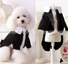 Pet Dog Cat Puppy Clothes Wedding Suit Tuxedo Costume collared Shirt