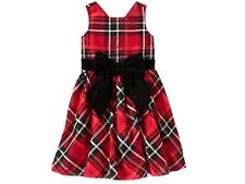 GYMBOREE GIRLS CHRISTMAS PARTY PLAID VELVELTY BOW DRESS HOLIDAY SHINE MANY SIZES
