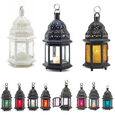 "Moroccan Style 10.25"" CANDLE LANTERN Pressed Glass Blue Amber Red Green Clear+"