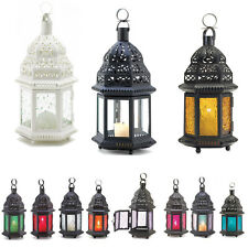 """Moroccan Style 10.25"""" CANDLE LANTERN Pressed Glass Blue Amber Red Green Clear"""