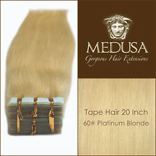 "Medusa Blonde 60# Skin Weft Tape 100% Human Remy Hair Extensions 20"" 40pc 100g"