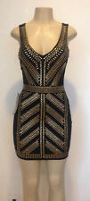 Bebe XS S M L XL Black V-NECK EMBELLISHED DRESS NWT Studded Gold Mini