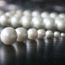 white Round Balls Glass Pearls Spacer Beads Jewelry Making Charms Craft DIY