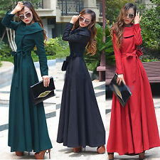 New Women lady Europe Style Lapel super long Woolen Coat Maxi Dresses breasted
