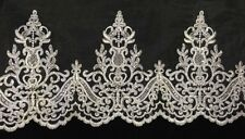 """9"""" Alencon Bridal Mesh Lace Trim, Corded and Sequined, EXCELLENT QUALITY"""