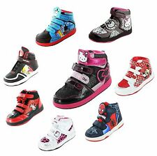 Kids Cartoon Characters HI Top Trainers Infant Boys Girls Skate Running Shoes