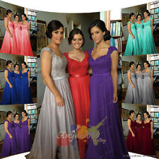 New Long Chiffon Bridesmaid Formal Gown Ball Wedding Evening Prom Party Dress