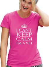 "VETERINARY  T-Shirt ""I CANT KEEP CALM, I'M A VET""  PINK VETERINARIAN Tee"