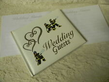 Wedding Party ~Fireman Firefighter~ Guest Book Silver Hearts 50% OFF Close-Out