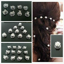 Silver Crystal Wedding Bridal Bride Prom Hair Bobby Pin Hair Twists Spins Pins