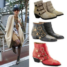 Women Real Leather Punk Studded Buckle Low Heel Rocker Cowboy Ankle Boot Crystal