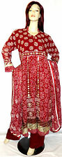 New Eid Pakistani Designer Red Wedding Shalwar Kameez Salwar Abaya Hijab UK 16