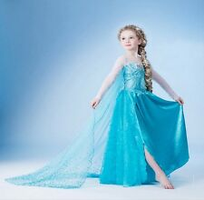 Blue Girl Kids Princess Queen Elsa Party Cosplay Costume Fancy Dress Long