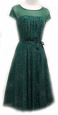 PlusSize 1930's 40's Style Teal Green Sheer Illusion Glitter Chiffon Party Dress