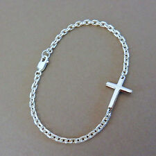 U&C Sundance SIDEWAYS .925 High Quality Cross Sterling Silver Chain Bracelet