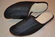 Mens Natural Leather Slippers Shoes Sandal Black Handmade Sheep Wool From Poland