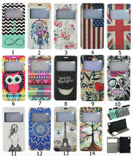 Fashion Lovely Flip View Time Printed PU Leather Stand Case Cover For Sony Z3