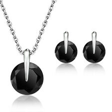 White/Black Silver Fashion Jewelry Sets Necklace Earrings For Women