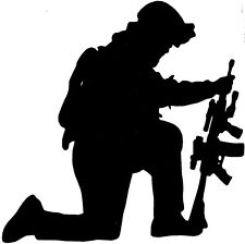 KNEELING SOLDIER SILHOUETTE Vinyl / Decal   U Pick Size & Color