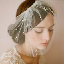 New White/Ivory birdcage veil pearls fascinator Bridal Tiaras +comb