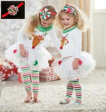 3 in 1 Baby & Girl Christmas outfits baby headband + T shirt + XMAS Tutu dress