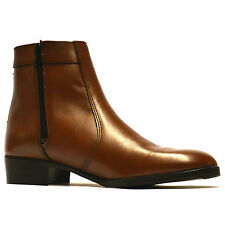 Mens New Leather Cuban Heel Zip Up Ankle Cowboy Retro Chelsea Boots Shoes Size