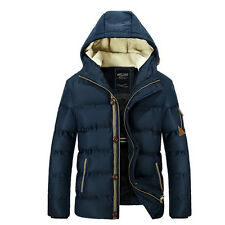 Men Casual Hooded Jacket Winter Warm Thicken Cotton Pad Outerwear Size M-2XL