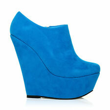 TINA Turquoise Faux Suede Wedge Very High Heel Platform Ankle Shoe Boots