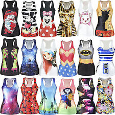 2014 Sexy Womens Digital Print Tank Top Blouse Gothic Punk Clubwear Styles Tee