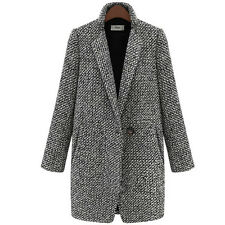 New Lady Women Lapel Cashmere Jacket Winter Long Parka Coat Trench Outwear S-2XL