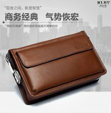 Men's Top Cowhide Clutches Hand Bag Wallet Briefcase High Capacity Clutch Bags