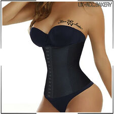 US Waist Tummy Girdle Glass Trainer Body Shaper Underbust Control black Corset S