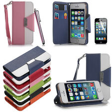 PU Leather Flip Pouch Wallet Stand Case Cover For iPhone 5 5S + Screen Protector
