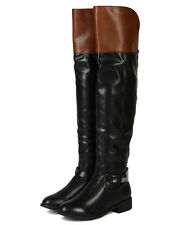 Nature Breeze Ralph-01H Leatherette Two Tone Knee High Riding Boot