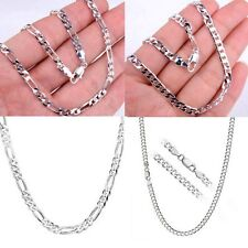 "Wholesale 2mm-12mm 1pcs Mens Womens Figaro Curb Chains Silver Necklace 16""-30"""