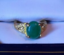 Mesmerising yellow gold plated Genuine Malaysian Jade ring. size: 4 to 8.5
