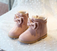 Girls Martin Boots Kids Sweet Bow Bootie Ruffles Princess Plush Ankle Boots Shoe