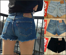 Levi Vintage Womens Shorts High Waist 6 8 10 12 14 16 18 20 22 Blue Black 501 +