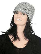 Women's Winter Warm Stretch Knit Visor Peak Beanie Hat with Crochet Flower