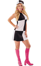 Ladies 60s Black White Chequered Go Go Mod Dress Fancy Dress Costume