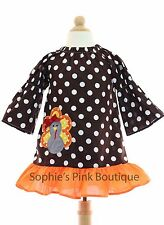 NWOT Toddler Girls Thanksgiving Holiday Turkey Peasant Boutique Applique Dress